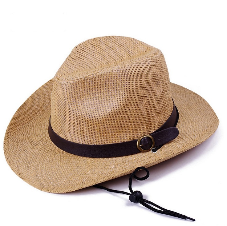 wholesale woman and man summer outdoor beach wide brim sun protection straw cowboy hats mixed order 3 colors(China (Mainland))