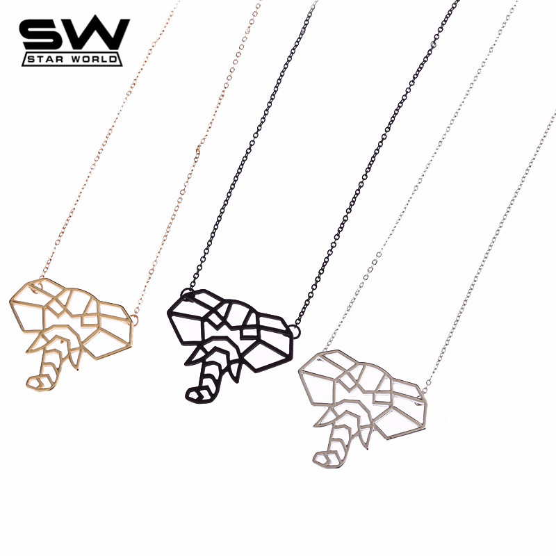 Fashion Accessories 3D Elephant Pendant Necklace Punk Jewelry Animal Pendant Black Necklace Wholesale Price Jewelry(China (Mainland))