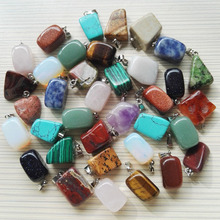 Wholesale 36pc Natural stone pendants mixed Fashion Point Charms Jewelry necklace Turquoise Rose Quartz Opal jade free shipping(China (Mainland))