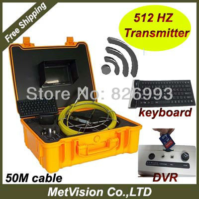 Plumbing detector with sewer pipe inspection camera system with 512HZ transmitter,keyboard and DVR, SD memory,50m cable(China (Mainland))