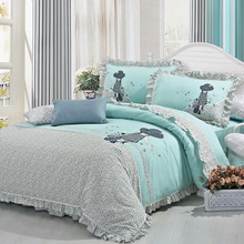 S&V Mordern Korean bedding sets Straw Hat girl bedclothes 3d bed linen embroidery duvet cover christmas cotton sheets king size.(China (Mainland))