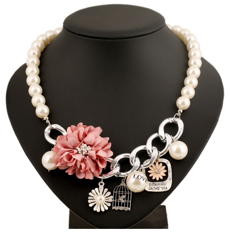 2015 New Korean Fashion Sweet Charm Plastic Pearl Flowers Birdcage Choker Collar beaded Chains Necklace For Girl Women Jewelry(China (Mainland))