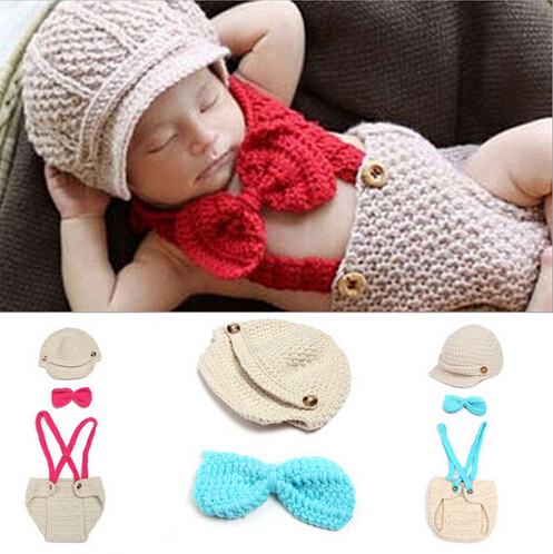 3 Pcs Handmade Crochet Knitted Beanie Hat&Tie Bow&Bib Pants Overall Costume Outfit New Newborn Baby Photography Props SY15(China (Mainland))