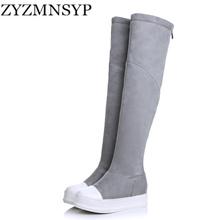 ZYZMNSYP ladies nubuck flock invierno zapatos mujer botas sobre la rodilla mujeres gris negro zapatos de plataforma de alta del muslo botas de nieve de arranque pisos(China (Mainland))