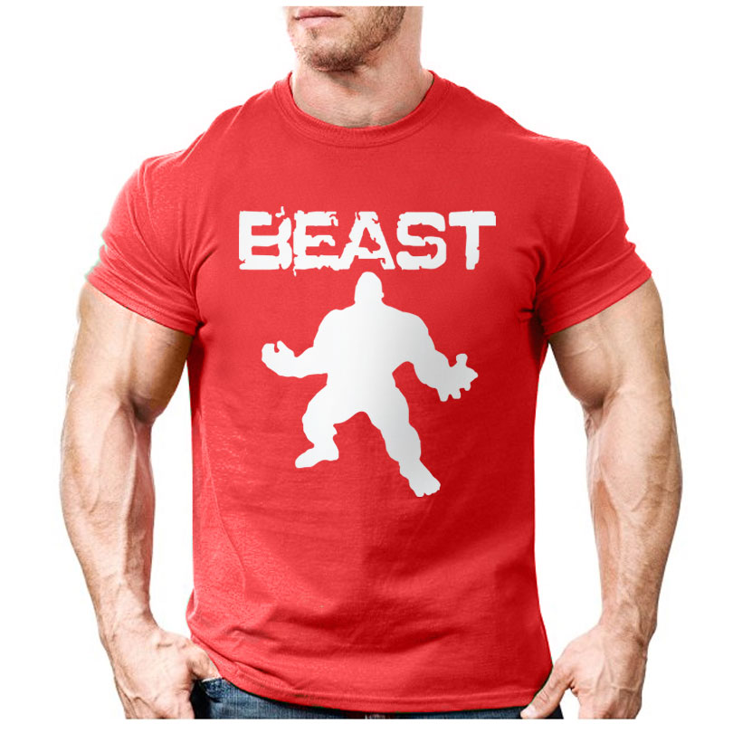 New brand clothing bodybuilding fitness men beast for Gym printed t shirts