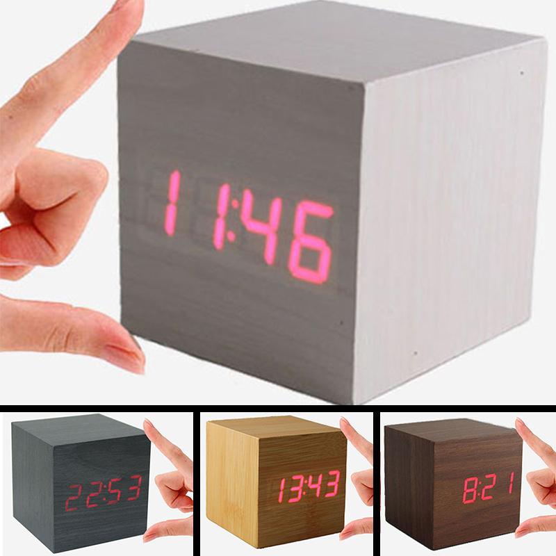 HOT Retro Fashion vintage Digital LED Wood Square Cube USB Vintage Desk Shelf Sound Control Alarm Clock home accessories DA1610w(China (Mainland))