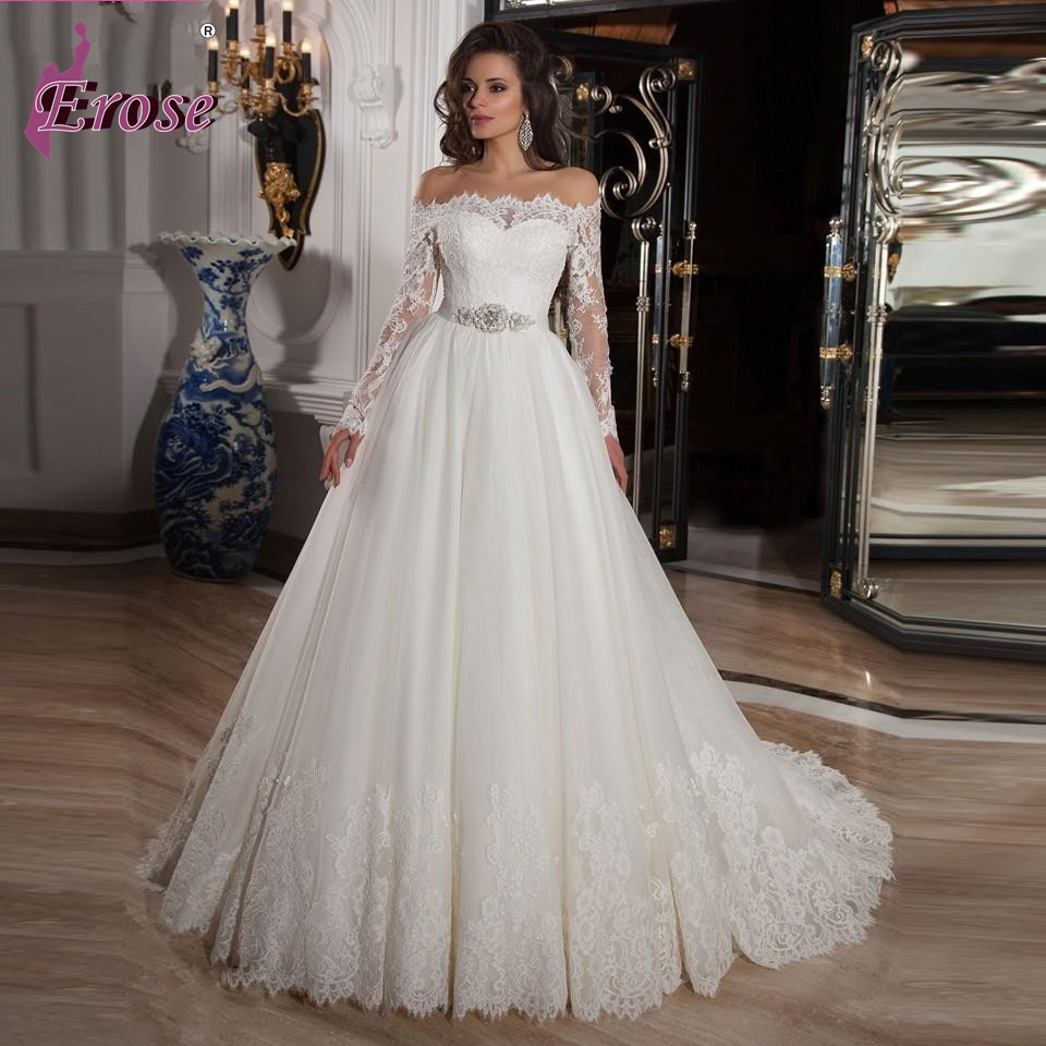 Lace Off Shoulder Sleeves Ball Gown Wedding Dresses