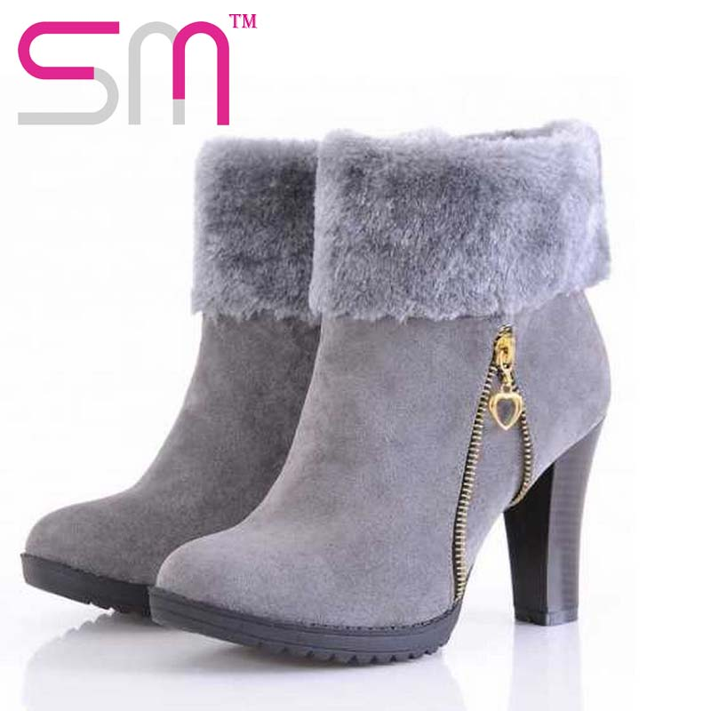 fahion 2016 thick high heels women ankle boots thick fur lining round toe warm fur lining zipper skid-proof sole women boots(China (Mainland))