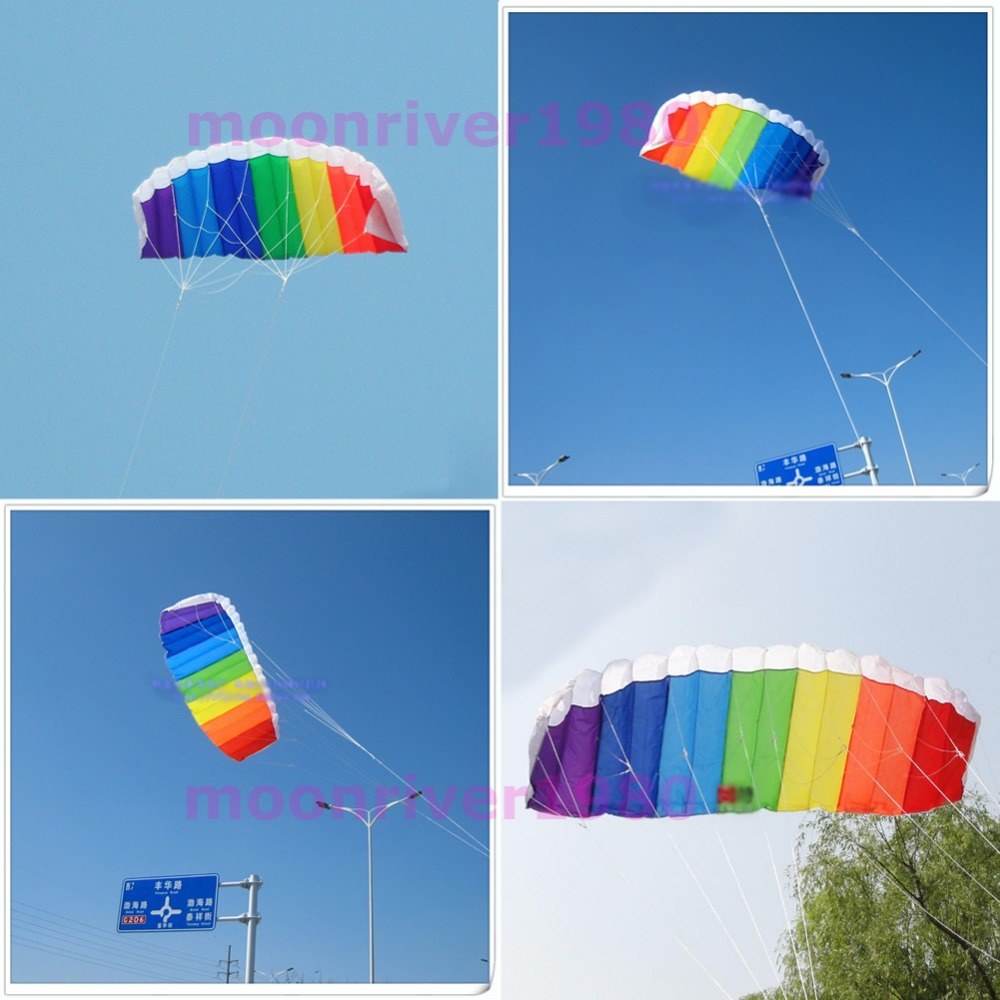 Power Dual Line Stunt Parafoil Parachute Rainbow Sports Beach Kite For Beginner(China (Mainland))