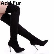 BONJOMARISA Yeni Diz Üzerinde Yüksek Çizmeler Kadın Büyük Boy 34-43 Uyluk Yüksek Çizmeler Kadın Seksi Yüksek Ince topuk Elbise Ayakkabı Kadın(China)