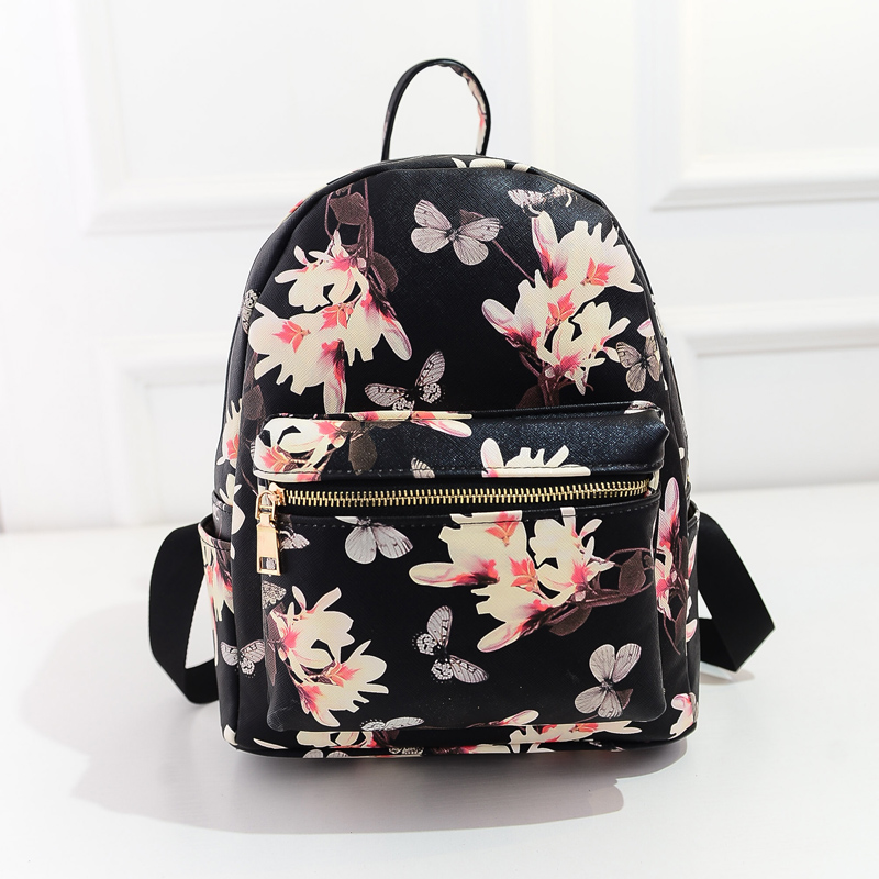 Women Leather Backpacks Printing Floral School Bags For Teenagers Mini Cute Backpack For Girls 2015 New Fashion Mochila Bolsos(China (Mainland))