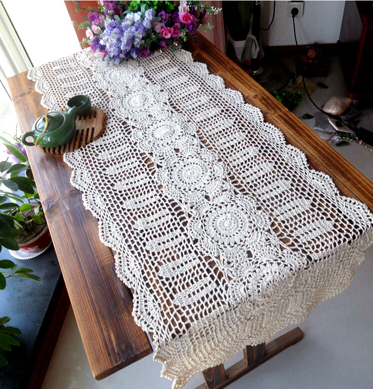 Christmas Gift Beautiful Handmade Crochet Cotton Table Runner Square Flower Tablecloths Hollow cloth Home Cover - xiaorui wan's store