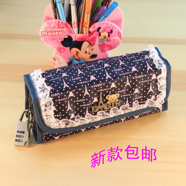Korea stationery bear password lock pencil case stationery box pencil box cosmetic bag storage bag
