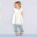 2017 Hot Fashion Baby Girl Lace Dress Infant Princess Summer Style Derss White Short Sleeve Hollow