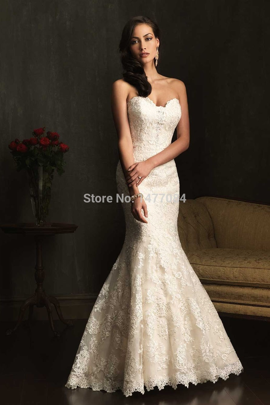 2015vintage sweetheart button up back mermaid wedding for Lace button back wedding dress