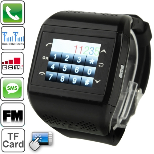 Q2 Bluetooth / FM Radio Touch Screen Watch Phone Dual SIM Cards Dual Standby Quad Band Network GSM850/900/1800/1900MHz(China (Mainland))