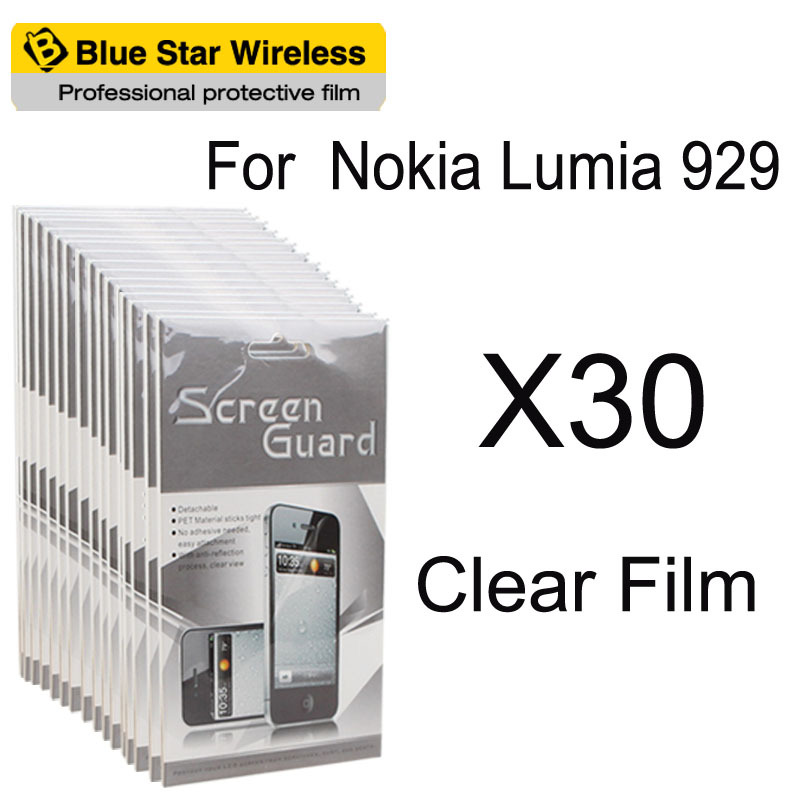 For Nokia Lumia 929 High Quality 30pcs/lot Clear Screen Protector Cell Phone Screen Protector Guard Mobile Phone With Package(China (Mainland))