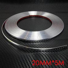 20MMX5M Car SIDE Trim Molding Interior CHROME Silver Strip U Style Decoration Free Shipping