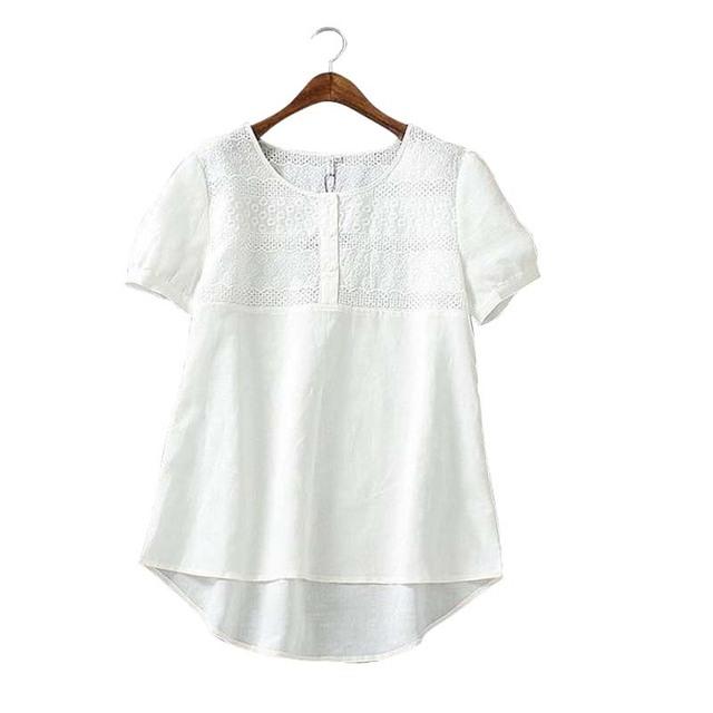 XH04 Мода Женщины Хлопок Лен Элегантный Вышивка выдалбливают Блузка О-Образным Вырезом ...