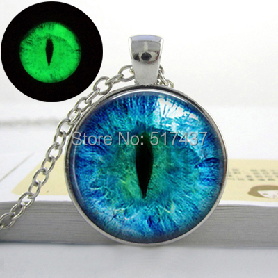 Blue Cats Eye Necklace - Glowing Eye Pendant - Silver luminous Picture Glowing Jewelry Gifts for Women Glow in the DARK(China (Mainland))
