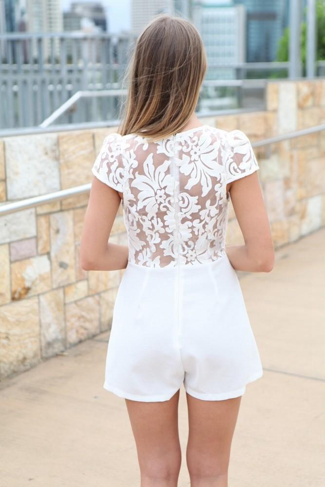 Hot Sale 2015 Unique Womens Lace Jumpsuit  Rompers White Lace Ladies Rompers Jumpsuit S M L  YJ7023-2
