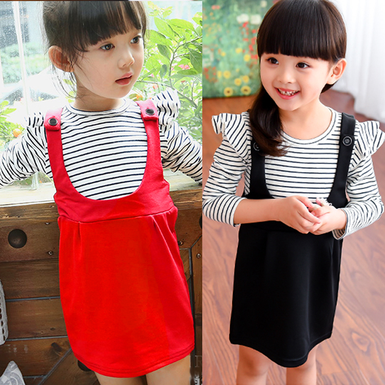2015 New Autumn Spring Girl Dress Kids Girls Clothes Fashion Long Sleeve Cotton Striped Christmas Dress Casual Children Clothing<br><br>Aliexpress