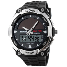 2015 New Solar Energy Watch Men's Digital Sports LED Watches Men Solar Power Dual Time Sports Digital Watch Men Military Watches