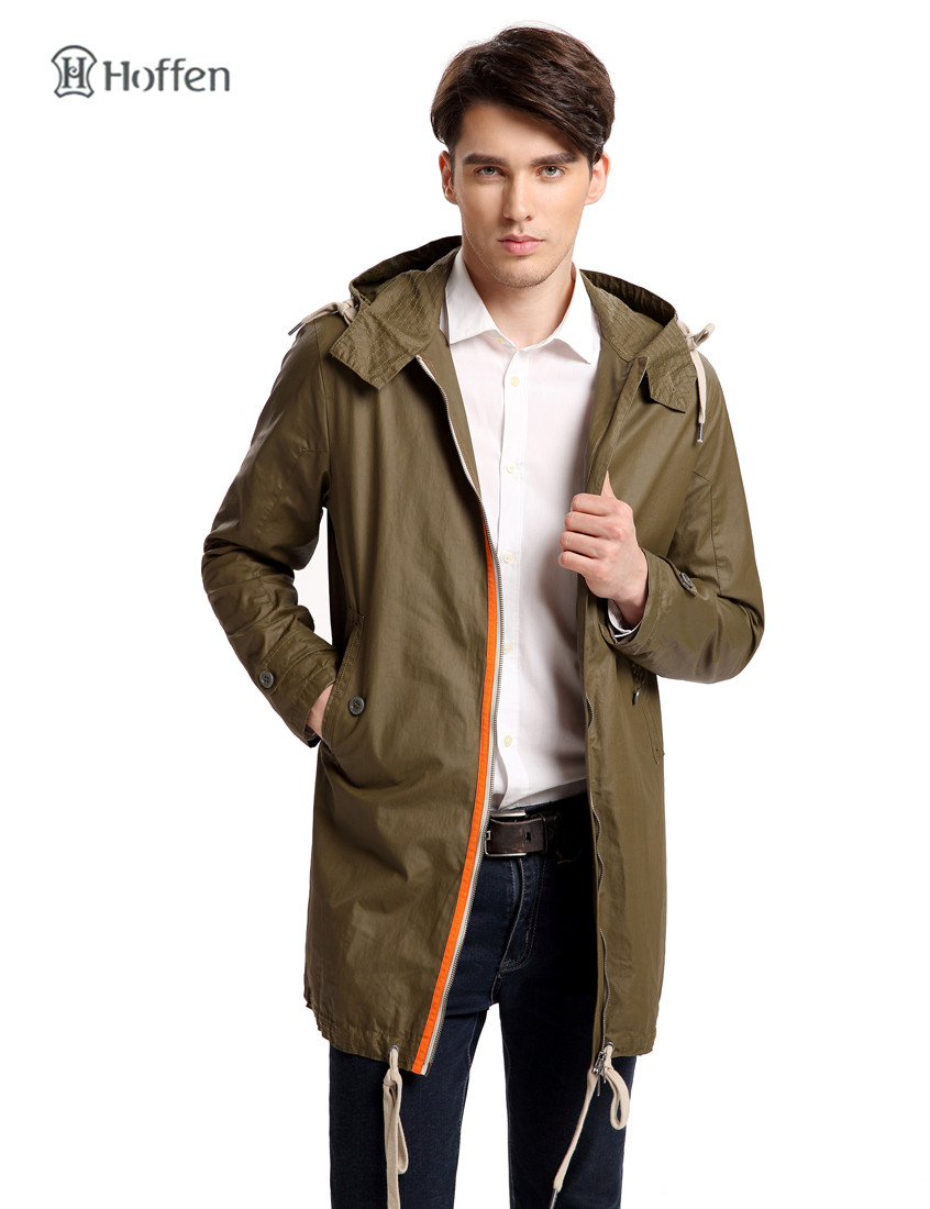 Hoffen New Fashion Mens Hooded Windbreaker Jacket Casual Long Parka Coat Olive Green Waterproof Outwear Overcoats RS14-KUM400(China (Mainland))