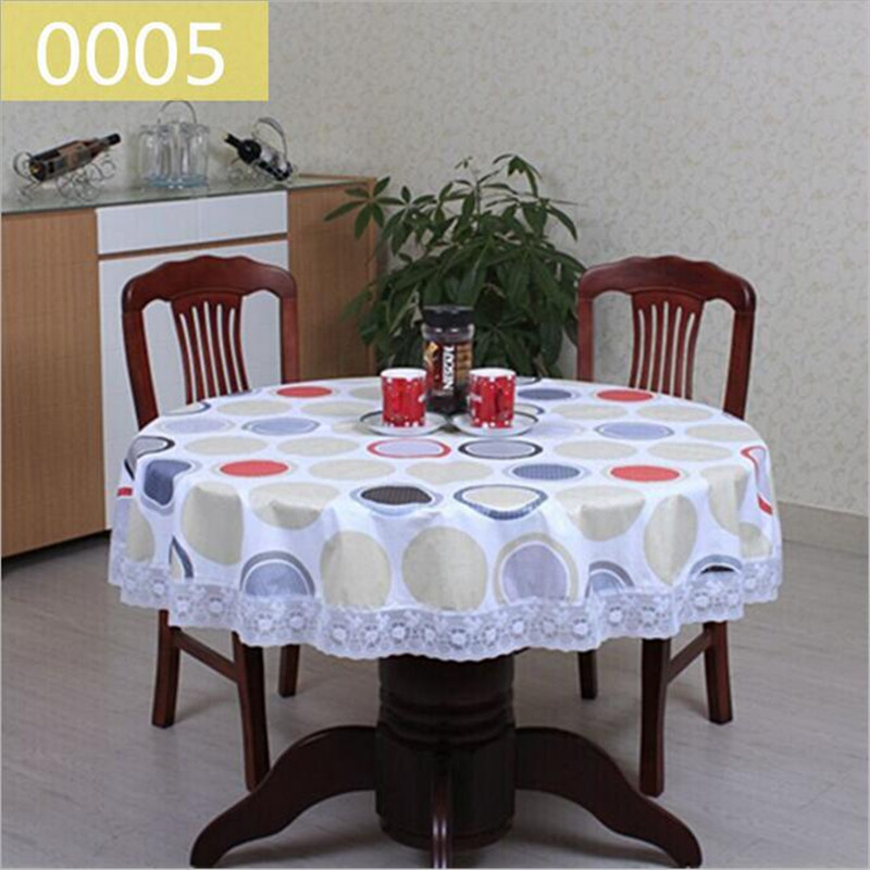 1Pcs Rural style PVC thickening Round tablecloth lace printing tablecloth waterproof and oil table cloth Tea table cloth(China (Mainland))