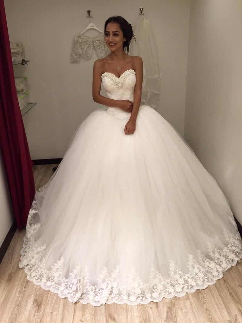 Turmec » basque waistline a-line wedding dress with strapless ...
