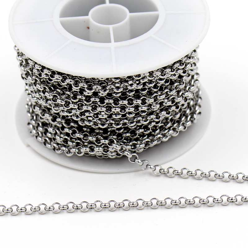 10m/roll (4mm Diameter 1.5mm Thick) Exquisitely DIY necklace Jewelry accessories stainless steel link chains(China (Mainland))