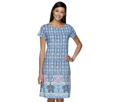 L- XXL Plus Size Women Print Knit Dress Cotton Short Sleeve One Piece Dress Big Size Plus Size Women Clothing(China (Mainland))