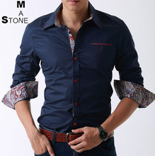 Versandkostenfrei männer shirt 2014 neue slim fit herren hemden baumwolle casual langarm-shirts konfektionsgröße: m~4xl 3 farben smc093(China (Mainland))