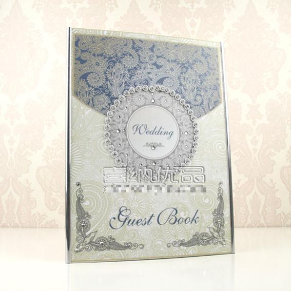Wedding Guest Book Blue Wedding Book Decoration Customized Gifts Wedding GuestBooks Ivory Personalized Wedding GuestBook(China (Mainland))
