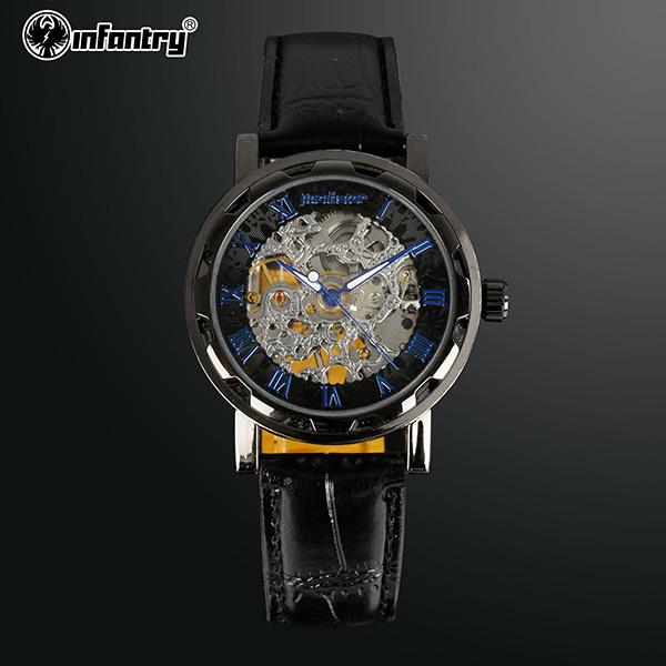INFANTRY Luxury Men Gentleman Black Dial Skeleton Mechanical Hand Winding Wrist Watch Leather Strap NEW(Hong Kong)