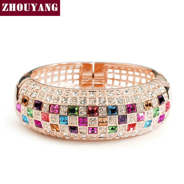 Top Qulaity Multicolour Crystal 18K Rose Gold Plated Bangle Jewelry Made with Genuine  Austrian Crystals Wholesale ZYB003 ZYB002