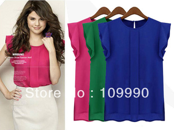 Summer 2014 new arrival blouse chiffon top women shirt rose blue green Plus size Novel fashion Western Style Casual Bright Color