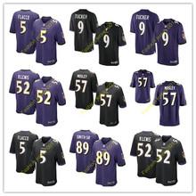 2016 men's Baltimore Ravens Kids #9 Justin Tucker #89 Steve_Smith_Sr Purple Black White(China (Mainland))