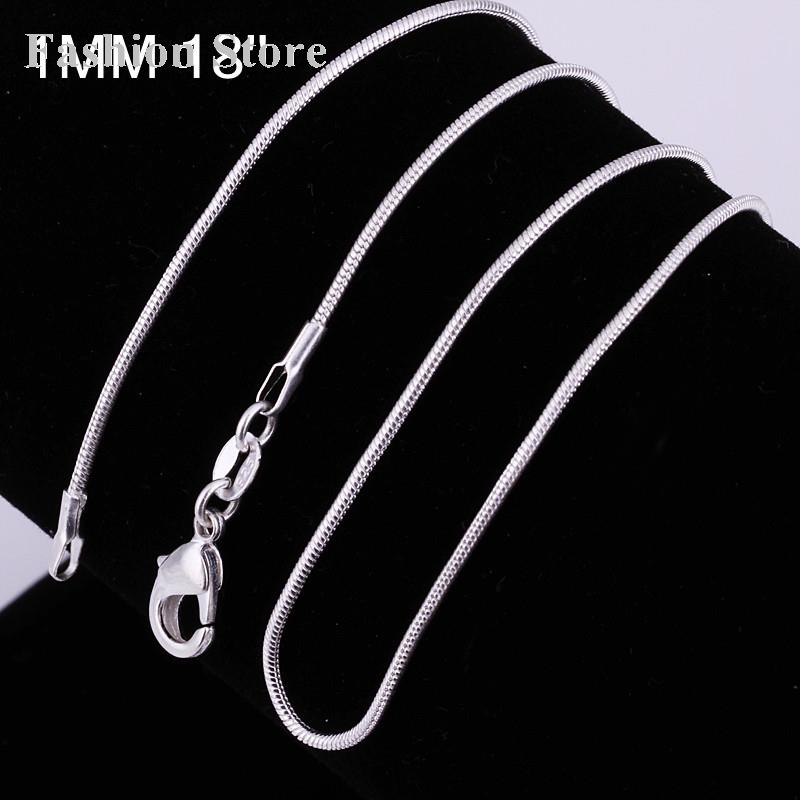 Hot Sales Chain Necklaces Fashion Different Sizes Link Silver Plated Snake Necklace Women&Men C008-18 - Jewels for Women store
