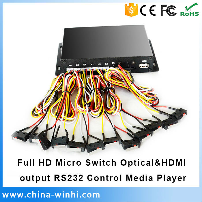 Micro Switch Optical HDMI output RS232 Control 1080P HDD Multimedia Player Full HD Media Player(China (Mainland))