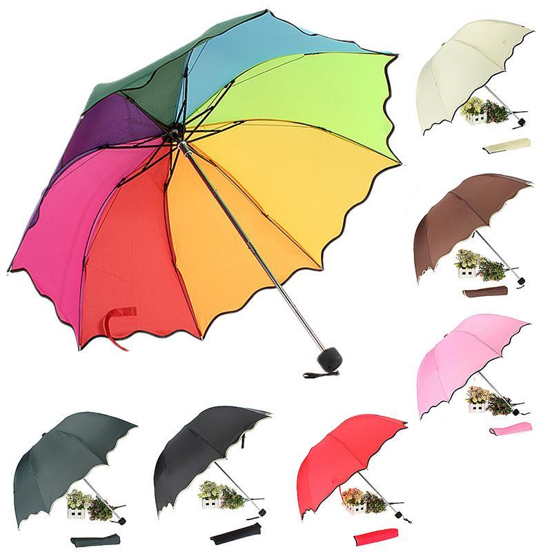Top Quality Rib Color Rainbow Fashion Long Handle Straight Anti-UV Sun/Rain Stick Umbrella Manual Big Parasol#DJ0047(China (Mainland))