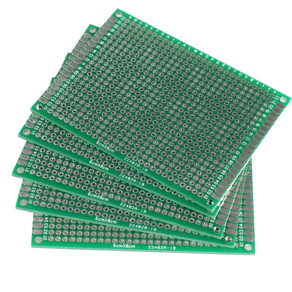 New 5pcs 6x8cm Double Side Prototype PCB Universal Printed Circuit Board E1Xc