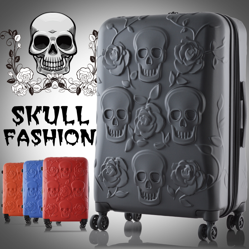 "New! top quality 19"" 25"" 29"" ABS travel luggage trolley bag travel case journey suitcase stereo skull print free shipping(China (Mainland))"
