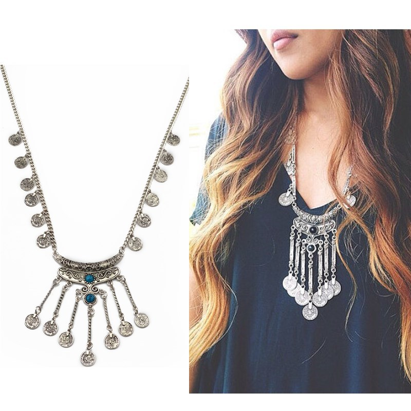 Bohemian vintage silver black stone moon pendant necklace long coin fringe chain necklace turkish female jewelry(China (Mainland))