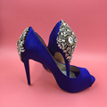 Royal Blue Satin Open Toe Rhinestone Back Wedding Shoes Pumps Stilettos sapato para noiva Shoe Slip