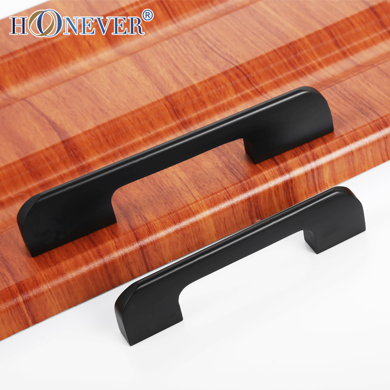5pcs Cabinet Knobs and Handles Aluminum Alloy Solid Handle Black Kitchen Cupboard Drawer Pulls Door Handles 96/128/160/192mm(China (Mainland))