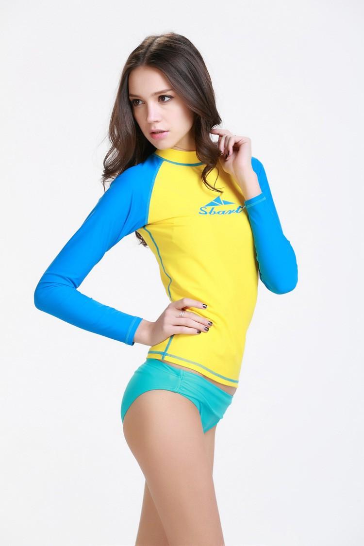 к 2015 году Новая мода женщин опрометчивый лайкра купальники серфинг вершины подводного плавания Виндсерфинг с длинным рукавом Футболка yr-rg-916