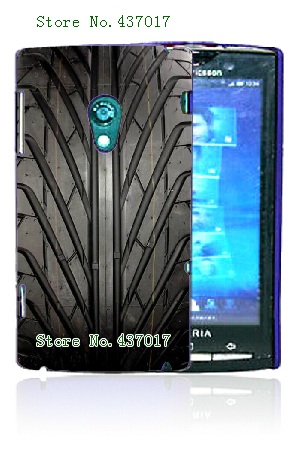 20designs hybrid retail black tyre car tire plastic hard back cover case for sony x10,free shipping(China (Mainland))