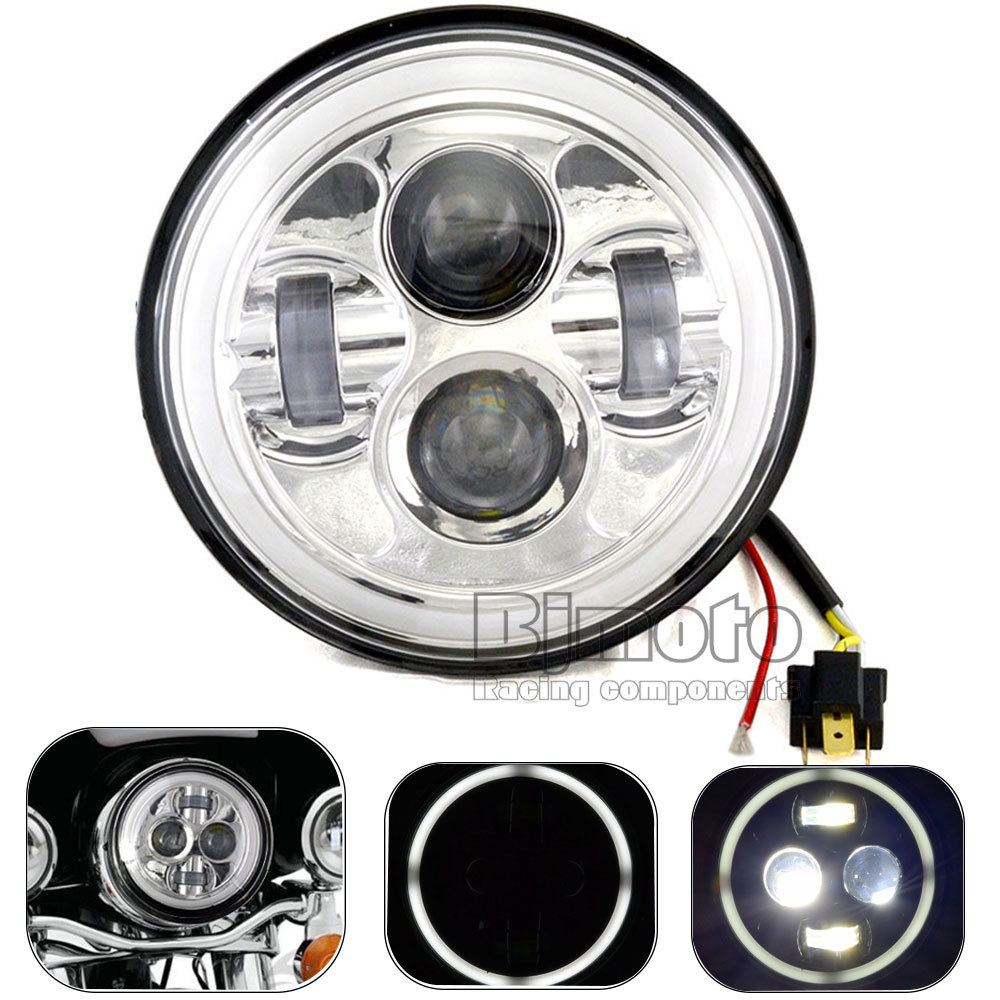 7'' Motorcycle Daymaker Round LED Headlights Halo Angel Eyes For ALL Harley and 97-2014 Wrangler JK LJ TJ(China (Mainland))