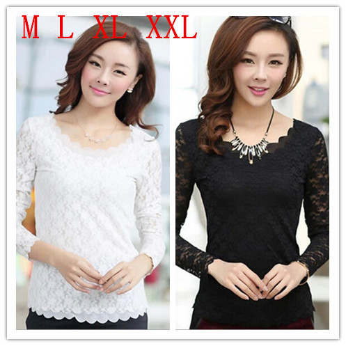 M L XL XXL Women's Tops Lace Chiffon Blouses Flounced Hem-Neck Long Sleeve Blusas Plus Size Hem Shirts Female - CDJLFH Online Store store